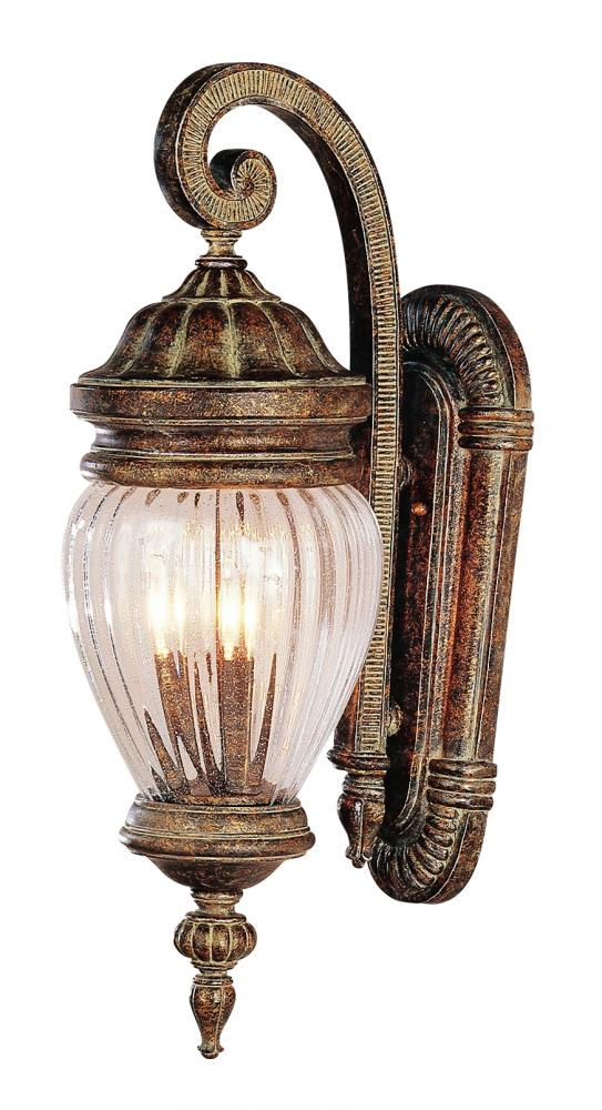 Joshua Marshal Three Light Antique Gold Clear Seeded Ribbed Acorn Glass Wall Lantern at Sears.com